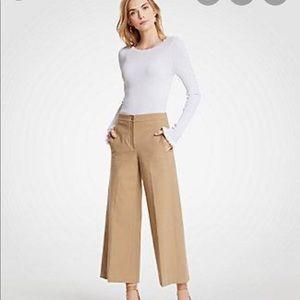 Ann Taylor khaki wide leg marina pants
